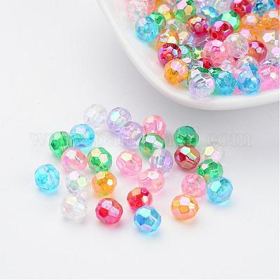 50pcs Mixed Colour Acrylic Faceted Rondelle Craft Beads 10x7mm B22116