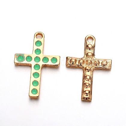 Colgantes cruzados en esmalte de aleación de oro plateado claroENAM-J544-04KCG-1