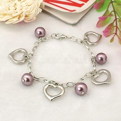 Charm pulseras de perlas de cristal para el día de san valentín.BJEW-JB00657-10-1