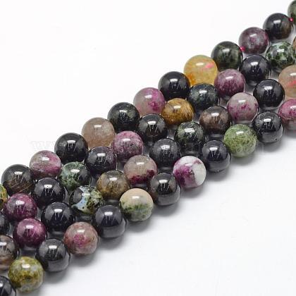 Natural Tourmaline Beads StrandsG-R446-8mm-03-1