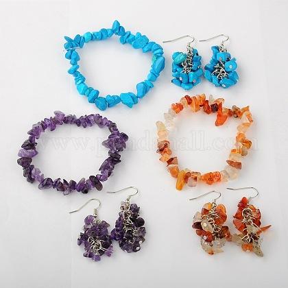 Gemstone Jewelry Sets: Earrings & BraceletsSJEW-JS00707-1