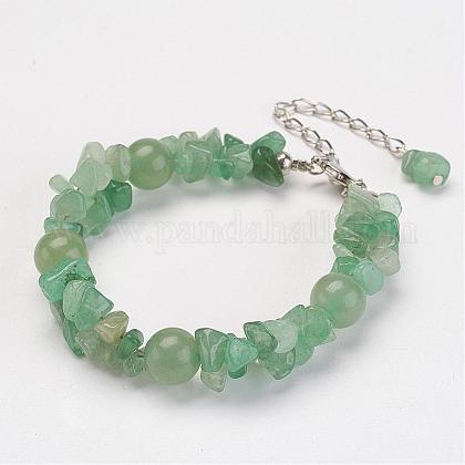 Natural aventurina verde chip perlas pulserasBJEW-JB02807-04-1