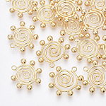Brass Pendants, for DIY Jewelry Making, Nickel Free, Vortex & Round, Real 18K Gold Plated, 22x22x4mm, Hole: 2mm