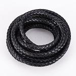 PandaHall Elite Braided Genuine Leather Cord for Bracelet Necklace Making, Black, 6mm, 2m/bag