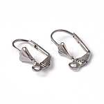 Brass Leverback Earring Findings, with Loop, Nickel Free, Platinum Color, about 10mm wide, 16mm long, Hole: 2mm