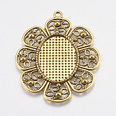 Pendant Settings for (Oval) Cabochon & Rhinestone, DIY Findings for Jewelry Making, Lead Free & Nickel Free, Flower, Antique Golden Color, 61x49x2mm, Tray: 31x23mm, Hole: 3mm