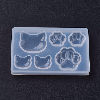 Silicone Molds, Epoxy Resin Casting Molds, For UV Resin, DIY Jewelry Craft Making, Cat & Bear Paw, Clear, 77x47x8mm; Inner Size: 14~25mm