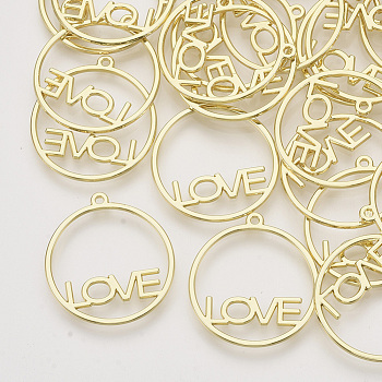 Rack-Beschichtung Legierung offenen Lünette Anhänger, für diy uv harz, Epoxidharz, Gepresste Blumenschmuck, runder Ring mit Liebe, Licht Gold, 29x26x1.5 mm, Bohrung: 1.5 mm