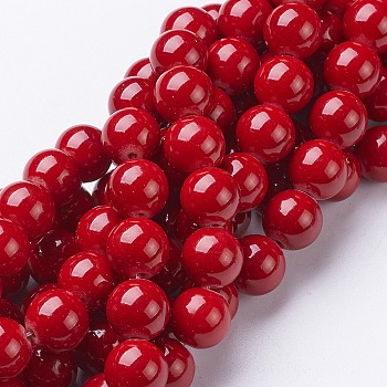 Cuentas mashan naturales redondos del jade hebras, teñido, rojo, 10mm, agujero: 1 mm; aproximamente 41 unidades / cadena, 15.7 pulgada
