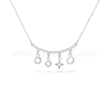 TINYSAND® Sterling Silver CZ Rhinestone Pendant NecklacesTS-N165-S-18-1