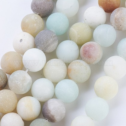 Frosted Natural Amazonite Round Bead Strands G-J363-01-8mm-1