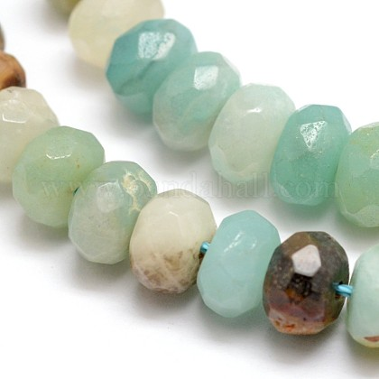 Faceted Natural Amazonite Rondelle Beads Strands X-G-K090-12-1