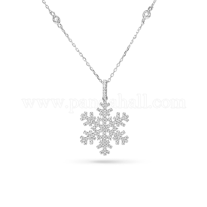 TINYSAND® Christmas Sterling Silver Cubic Zirconia Snowflake Pendant Necklace TS-N007-S-19-1
