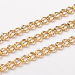Cadenas retorcidas de acero inoxidable 304  de revestimiento al vacío, cadenas del encintado, sin soldar, con carrete, dorado, 5x3.5x0.8mm, aproximadamente 32.8 pie (10 m) / rollo