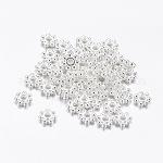 チベットスタイル合金スペーサービーズ, 花, 鉛フリー&カドミウムフリー, 銀色のメッキ, 4.5x1.5mm, 穴:1mm