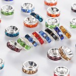 Brass Grade A Rhinestone Spacer Beads, Silver Color Plated, Nickel Free, Mixed Color, 6x3mm, Hole: 1mm
