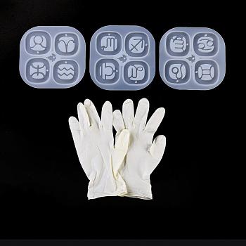 DIY Silikon Anhänger Formen, Gießformen aus Harz, für UV-Harz, Epoxidharz Schmuckherstellung, mit Einweg-Gummihandschuhen, Konstellation / Sternbild, Transparent, 96x96 mm, 3 Stk. / Satz