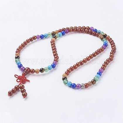 Collares de perlas de ágata natural malaNJEW-K084-01B-1