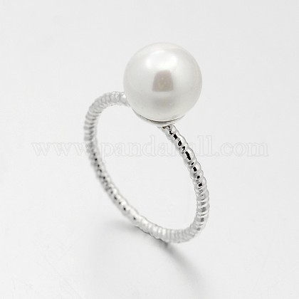 Anillos de dedo de la perla de acrílico de bronce para la joya de la bodaRJEW-J061-P-1