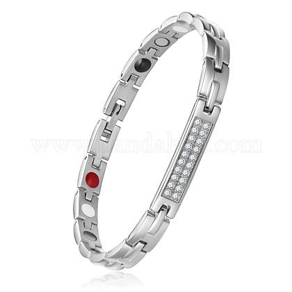 Shegrace® brazaletes de banda de reloj de cadena de pantera de acero inoxidableJB674A-1