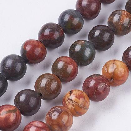 Pierre naturelle picasso / brins de perles de jaspe picassoG-E468-C01-1