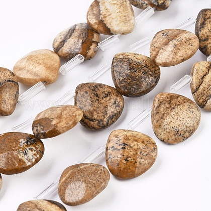 Natural Picture Jasper Beads Strands G-G821-04A-1