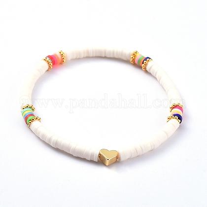 Pulseras hechas a mano de arcilla polimérica Heishi Bead StretchBJEW-JB05077-01-1