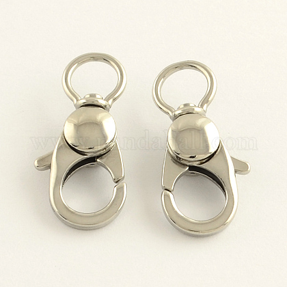 304 Stainless Steel Swivel Lobster Claw ClaspsSTAS-R065-10-1