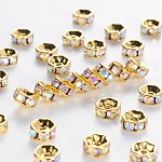 Brass Grade A Rhinestone Spacer Beads, Golden Plated, Rondelle, Nickel Free, Crystal AB, 6x3mm, Hole: 1mm