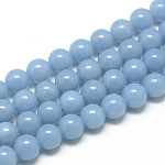 Natural Angelite Beads Strands, Anhydrite Beads, Round, 8mm, Hole: 1mm; about 50pcs/strand, 15.7inches(39.8cm)