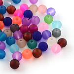 Perles en verre transparentes mat, ronde, couleur mixte, 6~7x6mm, trou: 1 mm; environ 100 PCs / sachet