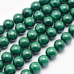 Natural Malachite Beads Strands, Round, 6mm, Hole: 1mm; about 63pcs/strand, 15.7inches(40cm)