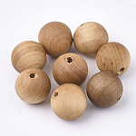 Natural Wood Beads, Spacer Beads, for DIY Macrame Rosary Jewelry, Undyed, Round, Burlywood, 10mm, Hole: 1.6mm