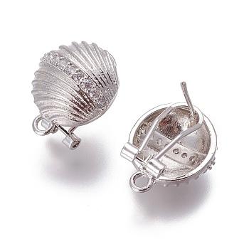 Fornituras de latón micro pave zirconia pendiente del perno prisionero, pendientes de clip francés, con bucle, cáscara, Claro, Platino, 18.5x15x12mm, agujero: 2 mm, pin: 0.7 mm