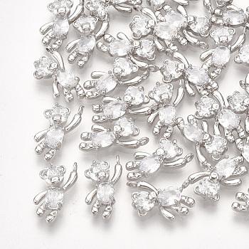 真鍮キュービックジルコニアチャーム  クマ  透明  プラチナメッキ  12x6x3mm  穴:1mm