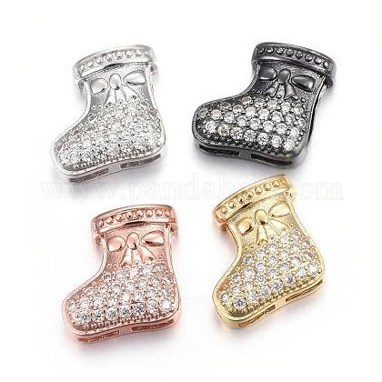 Brass Micro Pave Cubic Zirconia Slide Charms ZIRC-G147-27-NR-1