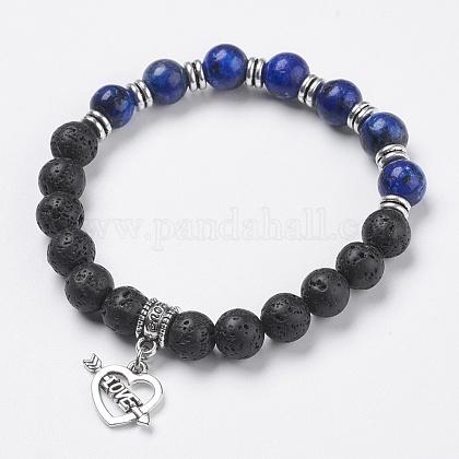 Pulseras de encanto de perlas de lava naturalBJEW-O161-20-1