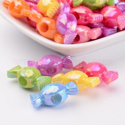 Color mezclado del color de la galjanoplastia ab abalorios de acrílico para la joya de caramelo decisiones navidad navidadX-PPDL021Y-1