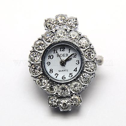 Esfera de los relojes redondos cabezas reloj de rhinestone de aleación de planosX-WACH-D014-04-1