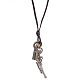 Adjustable Men's Zinc Alloy Pendant and Leather Cord Lariat Necklaces NJEW-BB16008-A-9