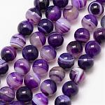Natural Striped Agate/Banded Agate Bead Strands, Round, Grade A, Dyed & Heated, Indigo, 10mm, Hole: 1mm, about 37pcs/strand, 15inches