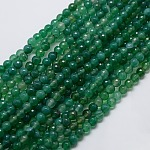 Natural Agate Round Beads Strand, Dyed, Faceted, Green, 6mm, Hole: 1mm; about 62pcs/strand, 14.17inches