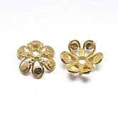 Véritables chapeaux de perles en argent sterling plaqué or 18 k 6 pétales, fleur, or, 12x5mm, trou: 2 mm; environ 24 pcs / 20 g