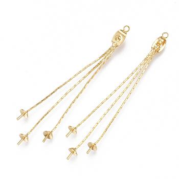 Tuercas de oreja de latón, pendiente trasero, por medio perforó abalorios, con cadenas de coreana, real 18k chapado en oro, 60mm, agujero: 0.8 mm y 1.5 mm; pin: 0.8 mm