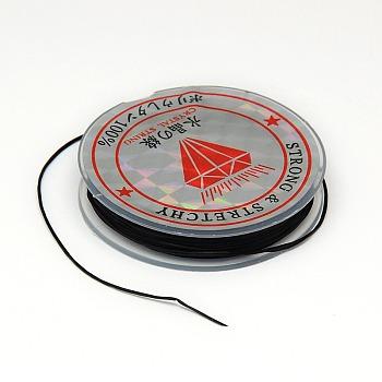 Chaîne de cristal élastique plat, Fil de cordon cordon de cristal, noir, 0.6 mm; 10 m / rouleau