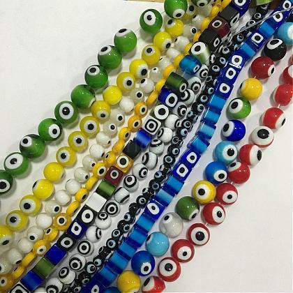 Evil Eye Lampwork Beads StrandGLAA-F050-01-1