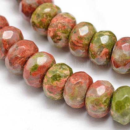 Facettes naturelles perles rondelles unakite naturellesG-K090-10-1