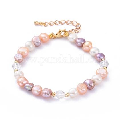 Pulseras de perlas de agua dulce cultivadas naturalesBJEW-JB05269-1