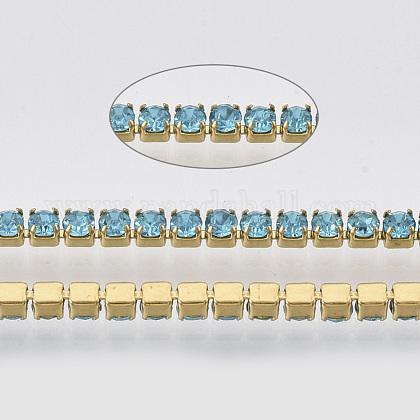304 acero inoxidable cadena de strass de rhinestoneSTAS-T055-05G-1