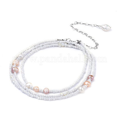 Glass Seed Beads Chain Belts NJEW-C00013-1